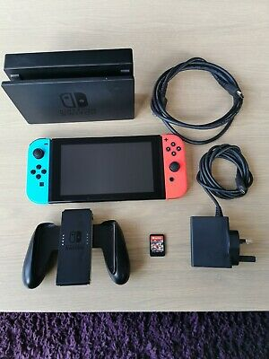 Nintendo Switch 32GB Neon Red/Neon Blue Console with Mario cart game.
