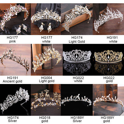 Princess Crystal Prom Hair Tiara Wedding Bridal Crown Veil Headband Accessories