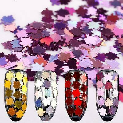 Christmas Decor Tips Maple Leaf Nail Sequins Nail Art Glitters Metal Slices 1g