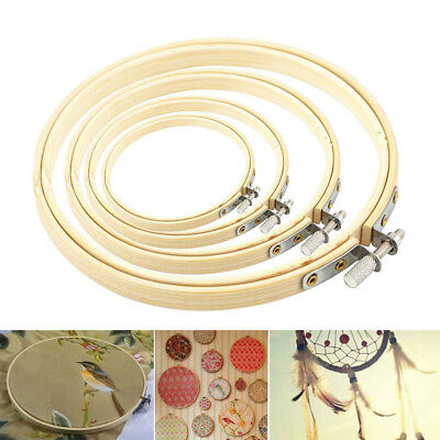 5 Pcs Embroidery Hoop Set Bamboo Circle Cross Stitch Hoop Ring DIY Crafts AU