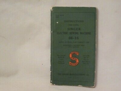 Singer Instructions booklet Form 19754 Electric Sewing Machine 66-16 small book
