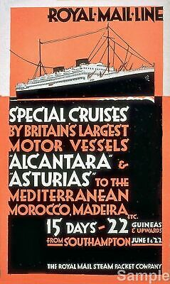 "ROYAL MAIL /""ATLANTIS AUTUMN CRUISES/"" ....Vintage Travel Poster A1A2A3A4Sizes"