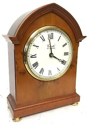 Comitti Of London Quartz Yew Break Arch Mantel Clock With White Dial