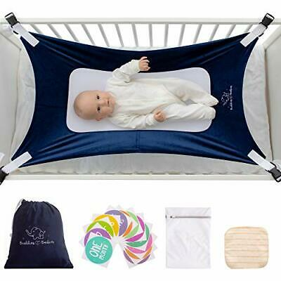 Buddies & Babies Baby Crib Hammock - Hanging Bed on Bassinet for (Blue)