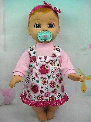 Dolls clothes for LUVABELLA DOLL~STRAWBERRIES & FLOWERS PINAFORE~TOP~HAIR BOW