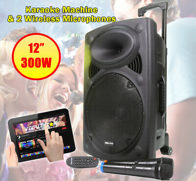 "VS Portable Bluetooth Karaoke Machine Speaker 500w 2 Wireless Mics 15"" LED Light"