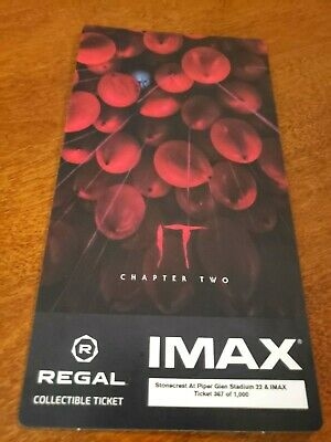 "Stephen King's "" It "" Chapter Two Regal Imax Collectible Ticket"