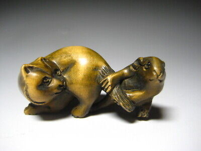 Wooden Mouse Rat and Cat Netsuke 玉山 sign Japanese antique vintage inro ojime