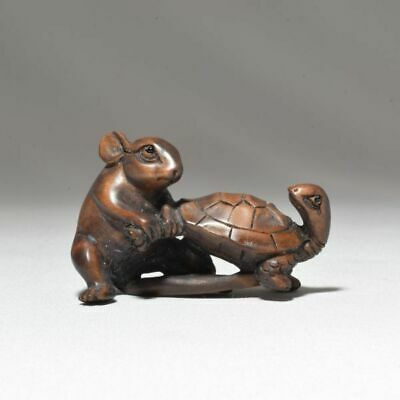 Wooden Mouse Rat and Turtle Netsuke Japanese antique vintage Japan ojime inro