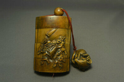 Wooden Rat Mouse Inro Netsuke Ojime bead Japanese antique vintage Japan Rare