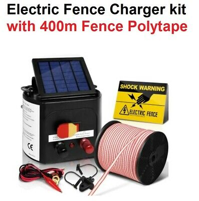 5km Solar Power Electric Fence Charger Kit Farm Fencing Tape Insulator Farming