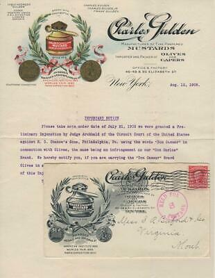 1908 - Illustrated advertising cover for Gulden's Mustard - Lawsuit contents