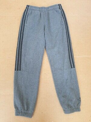 K795 Kids Adidas Grey Black Stripes Cuffed Tracksuit Joggers Age 13-14 W28 L29