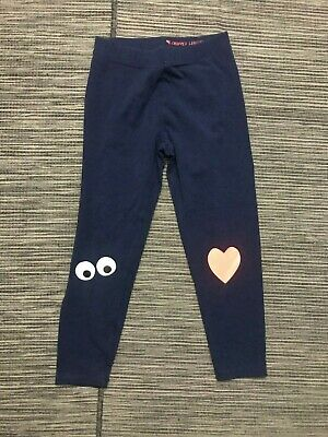 Crewcuts Girls Youth Kids Size 2 Cropped Leggings Blue Heart Eyes J Crew