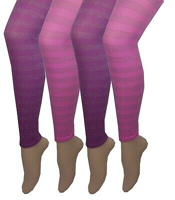 Girls 4 pairs Footless Pink and Purple Stripe Plain Tights Bargain Dance School