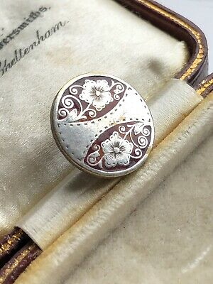 Antique Art Deco Silver Hibiscus Flower Red Enamelled Silver Plated Button