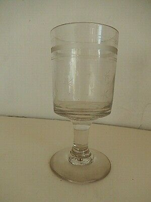 Early Victorian Glass Rummer  Bucket Bowl Engraved With Stars, Pedestal Stem