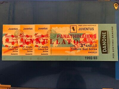 Ticket Uefa Cup Juventus - Panathinaikos 1992/1993 92/93 Unused Unfolded