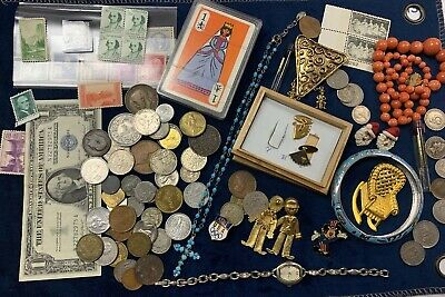 Junk Drawer Lot Jewelry, Brook, Mickey Mouse, Coins, Currency, Stamps