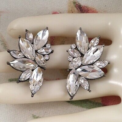 Vintage Jewellery Silver Earrings White Ice Crystals Antique Dress Jewelry