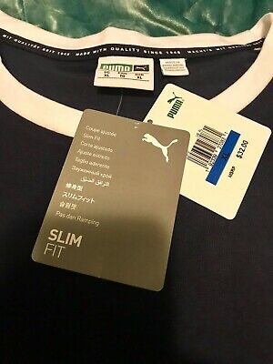 New With Tags Puma Authentic Men's Short Sleeve Men's Blue Shirt Size L