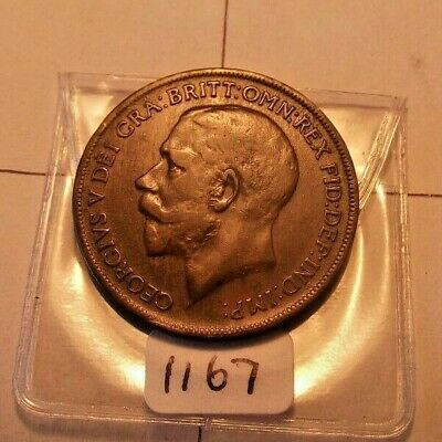 1921 george V penny nice detail nice grade see photos