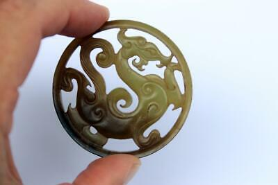 Antique Chinese  Jade Dragon Medallion
