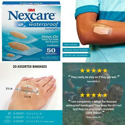 Nexcare Waterproof Clear Bandages Assorted Sizes, 50