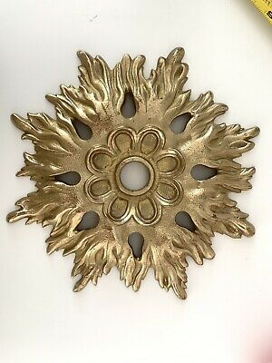 """Xl Canopy Ceiling Medallion Sun Burst Brass 9 3/4"""" Phylrich Sherle Wagner Bagues"""