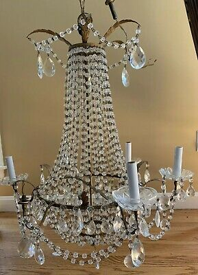 """Antique French Crystal Beaded Basket Chandelier Parts Repair Salvage 25"""" X 29"""""""