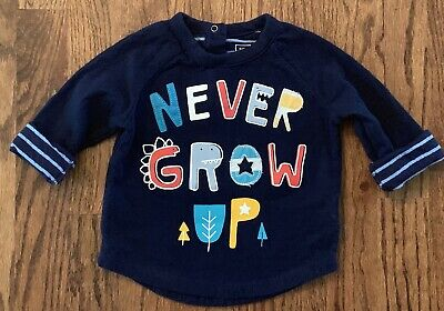 Baby Gap Boys Never Grow Up Long Sleeve Shirt Double Thickness Size 6-12m Navy
