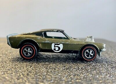 Vintage 1969 Hot Wheels Redline - Mustang Boss Hoss OLIVE - Black Roof - HK BASE