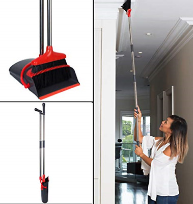 Benbelle Long 62-inch Extendable Broom and Dustpan Set, Easy Setup & Lightweight