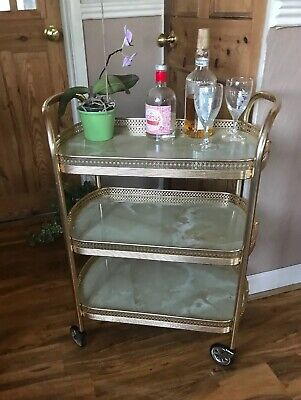 Vintage Retro Oval 3 Tier Marble Effect Cocktail Drinks Tea Serving Trolley