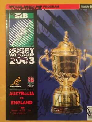 England Rugby World Cup Winners 2003 Squad signed Programme with COA