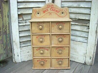 Antique 8 Drawer Spice Box Chest Cabinet Apothecary