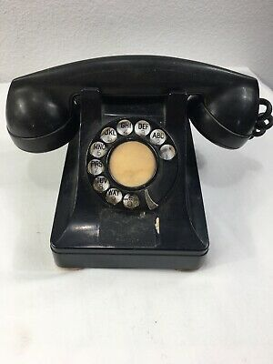 1940's Bell System Western Electric  Rotary Desk Phone Black Classic Metal Dial