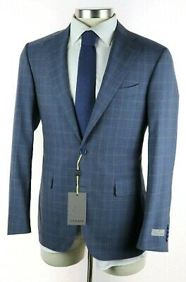 NWT $2195 CANALI 1934 Slate Blue Check Year Round Wool Suit Slim-Fit 40 R /50 Eu
