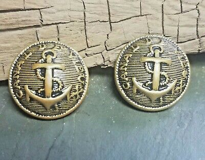 Two Vintage Canal De Vieux Brass Metal Navy Military Anchor Shank Buttons