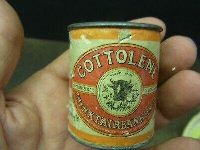 """Vintage 2"""" Paper Label Cottolene Cottonseed Oil Oleo Stearine Coin Bank Nohogfat"""