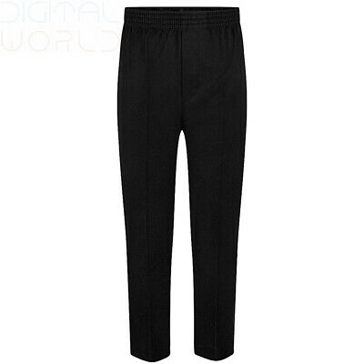 Pull Up Fully Elasticated School Trousers, ages 2-12 in 9-10 Years, Black