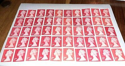 50x 1st Class Red Security Unfranked peel & stick