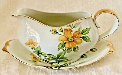 Meito Norleans China Sun Glory, Gravy Boat & Saucer - Occupied Japan