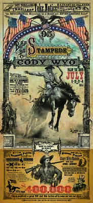 Cody Wyoming Buffalo Bill Stampede Rodeo poster Bob Coronato old cowboy signed