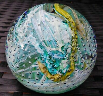 Whitefriars Lead Crystal Millefiori Swirl Magnum Paperweight Ray Annenberg 77-80