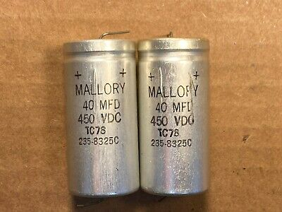 4 Vintage 1983 Mallory 40 uf 450v Metal Capacitors Guitar Tube Amp Caps