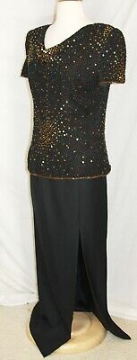 Papell Evening MOB Mother of the Bride dress gown 2 piece skirt top sequin black