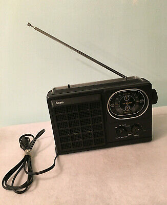 Vintage Sears Portable AM FM TV Band - Radio Works Battery & Electric Power Cord