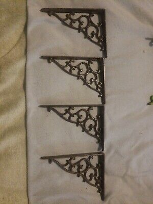 Set Of 4 Cast Iron Brown Brace Shelf Brackets