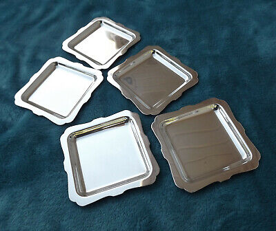 "Sterling Silver butter pats by Amston 3"" square five total 164 grams"